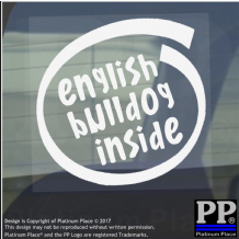 1 x English Bulldog Inside-Window,Car,Van,Sticker,Sign,Adhesive,Dog,Pet,On,Board